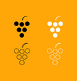 grape set black and white icon vector image vector image