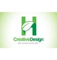 h green leaf letter design logo eco bio leaf vector image vector image