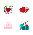icon flat passion set of present wedding cake vector image vector image