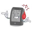 listening music ipad on a wooden cartoon table vector image