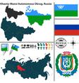 Map of Autonomous Okrug Khanty Mansi vector image vector image