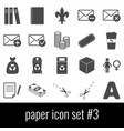 paper icon set 3 gray icons on white background vector image