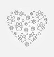 paw prints in heart shape outline vector image vector image