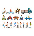people on street set various vehicles cartoon vector image vector image