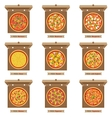 Pizzas and opened cardboard boxes vector image