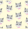 raccoon cute seamless pattern cartoon background vector image
