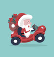 santa claus carrying gifts in his car vector image vector image