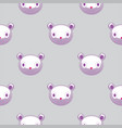 seamless pattern with plush teddy head cute vector image vector image