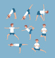 set man training yoga exercerse balancce vector image