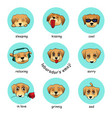 set of round stickers emojis with dog vector image vector image
