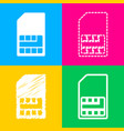 sim card sign four styles of icon on four color vector image