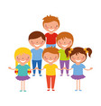 smiling group of kids vector image vector image
