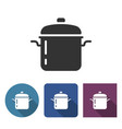 stew pan icon in different variants with long vector image vector image