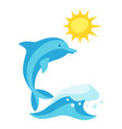 summer with wave and dolphin vector image vector image