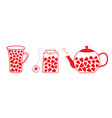 tea set line collection with hearts teabag teacup vector image