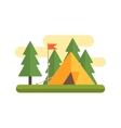 Tent In Woods vector image vector image