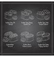 types gunkan sushi on a blackboard vector image