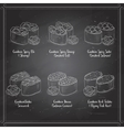 Types of Gunkan Sushi on a blackboard vector image
