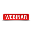 Webinar red 3d square button isolated on white vector image
