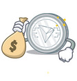 with money bag tron coin character cartoon vector image vector image