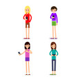 woman selfie isolated friends do joint vector image
