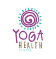 yoga health center logo colorful hand drawn vector image vector image