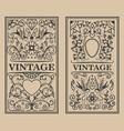 vintage flourish frames design element for card vector image
