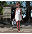 Fashionable girl standing near pointers in the vector image