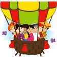 multicultural people on one balloon