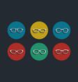 black glasses icons set on white background vector image