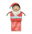 christmas santa claus character in chimney image vector image