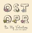 retro valentine alphabet - o s t q p r vector image