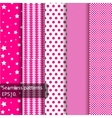 5 pink geometrical seamless patterns vector image vector image