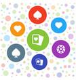 7 gambler icons vector image vector image