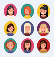a set of female avatars with different hairstyles vector image vector image