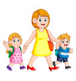 a woman holding her children hands for accompany vector image