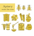 Apiary thin line icons set vector image vector image