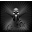 background biker skull and revolvers vector image vector image