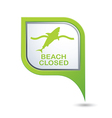 Beach Closed shark sign on green map pointer vector image vector image