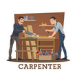 carpenters at workshop with carpentry tools vector image vector image