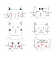 cat set hand drawn cute vector image vector image