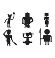 caveman primitive stone black silhouette age vector image vector image