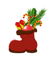 Christmas boots with gifts and sweets vector image vector image