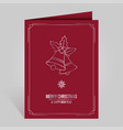christmas card with vintage silver xmas bells on vector image vector image