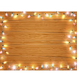 Christmas light frame christmas banner on wooden vector image vector image