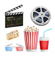cinema movie icons set realistic items film vector image