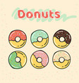 colorful set of half-glazed donuts with caramel vector image