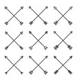 crossed hipster arrows set on white background vector image