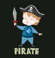 cute baby boy in pirate clothes vector image