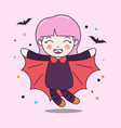 cute dracula girl fly with bat vector image vector image